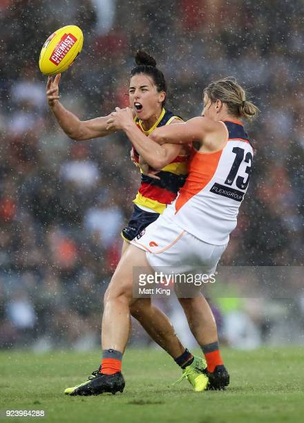 Angela Foley of the Crows is tackled by Cora Staunton of the Giants during the round four AFLW match between the Greater Western Sydney Giants and...
