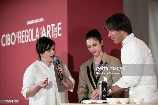 Angela Frenda Lodovica Comello and Davide Oldani attend the Cibo A Regola D'Arte 2019 at Fabbrica del Vapore on May 19 2019 in Milan Italy