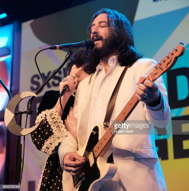 Angela Gail Mattson and Jeffrey Jacob Mendel of In The Valley Below perform onstage at 101x during SXSW at Radio Day Stage on March 17 2018 in Austin...
