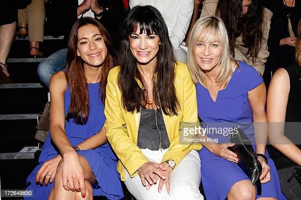 Angela Gessmann Mariella Ahrens and Gesine Cukrowski attend the Laurel Show during the MercedesBenz Fashion Week Spring/Summer 2014 at Brandenburg...