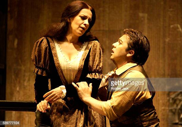 Angela Gheorghiu and Tito Beltran in the Royal Opera's production of La Boheme at the Royal Opera House Covent Garden London Composer Giacomo Puccini