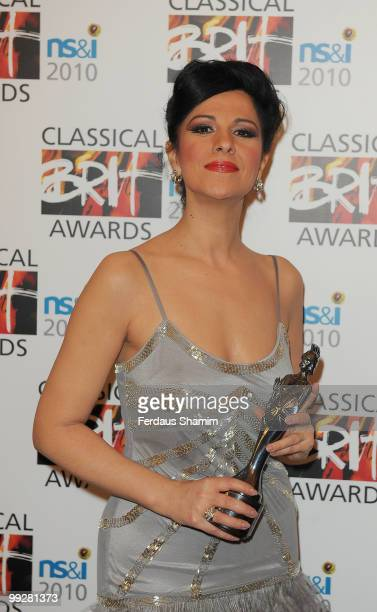 Angela Gheorghiu poses with The Female Artist of the Year Award in the Winners room at the Classical BRIT Awards at Royal Albert Hall on May 13 2010...