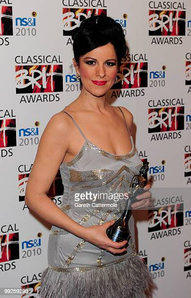 Angela Gheorghiu poses with the Female Artist of the Year Award during the Classical BRIT Awards at Royal Albert Hall on May 13 2010 in London England