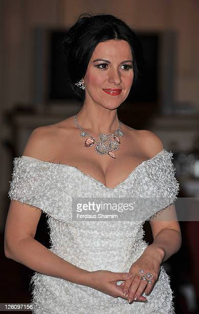 Angela Gheorghiu wearing Vivienne Westwood Couture and jewellery by Van Cleef Arpels attends the launch of Royal Opera House Cinema at The Royal...