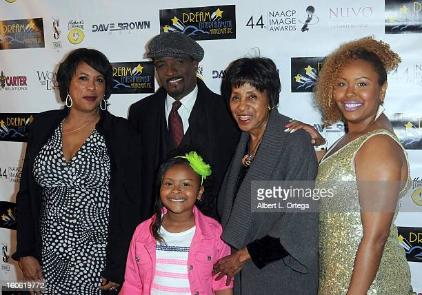 Angela Gibbs actor Clyde R Jones actress Zoe Carter actress Marla Gibbs and Geia Carter arrive for the NAACP Image Awards Nomination Party featuring...