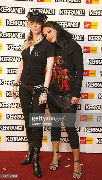 Angela Gossow and Christina Scabbia arrive at the Kerrang Awards 2006 the annual music magazine's prestigious awards at The Brewery Chiswell Street...