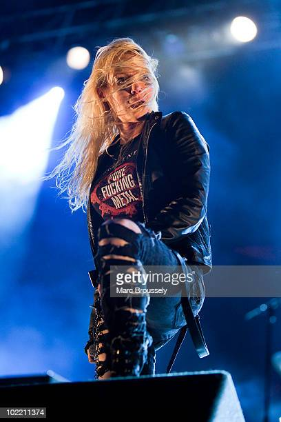 Angela Gossow of Arch Enemy performing on stage at Hellfest Festival on June 18 2010 in Clisson France