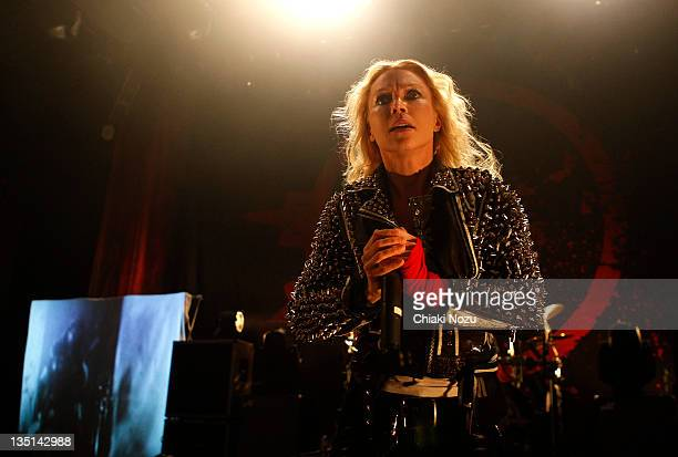 Angela Gossow of Arch Enemy performs at Shepherds Bush Empire on December 6 2011 in London England