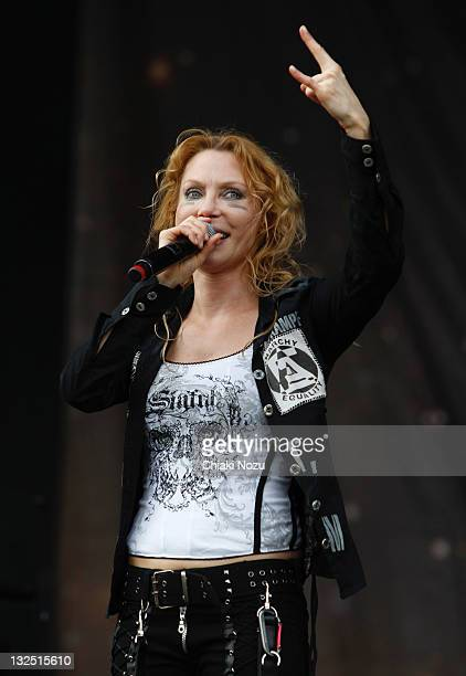Angela Gossow of Arch Enemy performs on day three of the Sonisphere festival at Knebworth House on July 10 2011 in Stevenage England