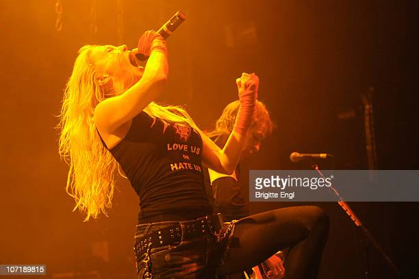 Angela Gossow of Arch Enemy performs on stage at HMV Forum on November 27 2010 in London England