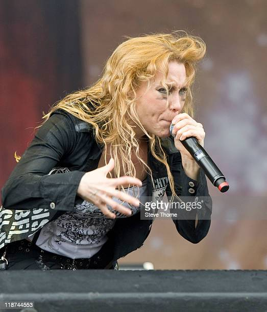 Angela Gossow of Arch Enemy performs on stage during the third day of Sonisphere 2011 at Knebworth House on July 10 2011 in Stevenage United Kingdom