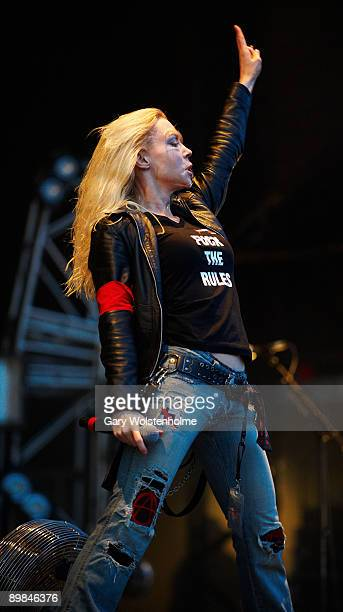 Angela Gossow of Arch Enemy performs on stage on the first day of Bloodstock Open Air festival at Catton Hill on August 14 2009 in Derby England