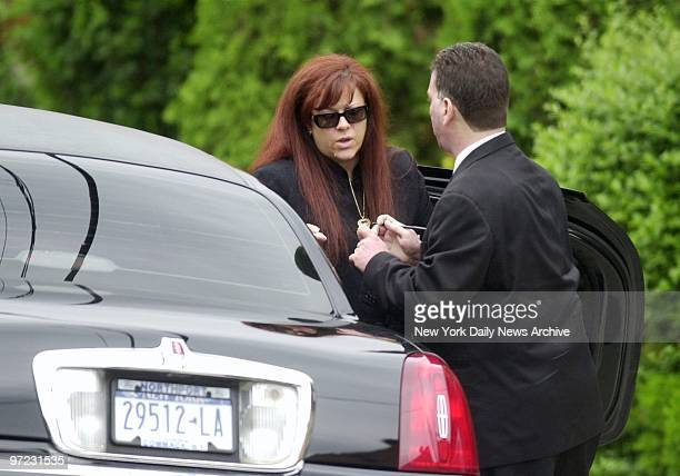 Angela Gotti arrives at the Papavero Funeral Home in Maspeth Queens for the wake of her father mob boss John Gotti