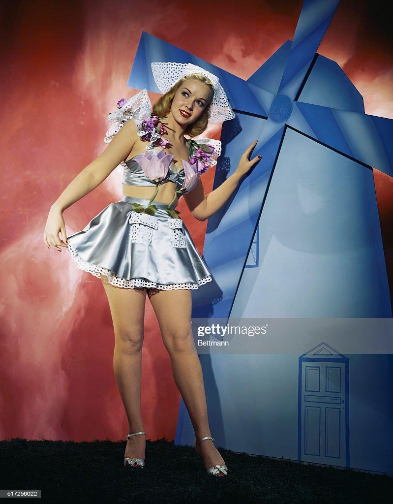 Angela Greene Posing in Dutch Inspired Costume : News Photo