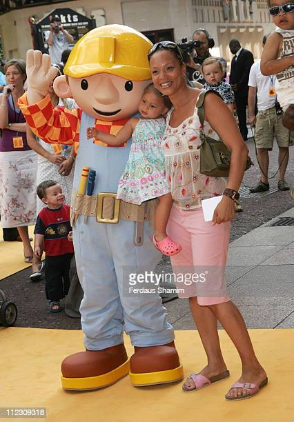 Angela Griffin and Bob during 'Bob the Builder Built to be Wild' London Premiere at Odeon West End in London Great Britain