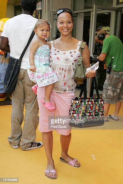 Angela Griffin and child at the Bob The Builder Built To Be Wild London Premiere Outside Arrivals at Odeon West End in London