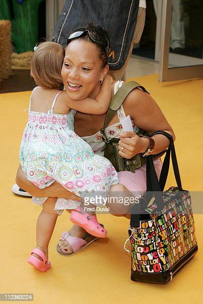 Angela Griffin and child during Bob The Builder Built To Be Wild London Premiere Outside Arrivals at Odeon West End in London Great Britain