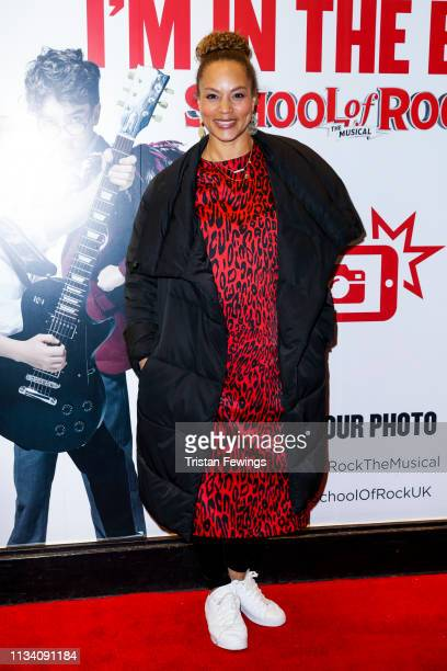 Angela Griffin attends a gala evening of 'School Of Rock The Musical' at Gillian Lynne Theatre on March 06 2019 in London England