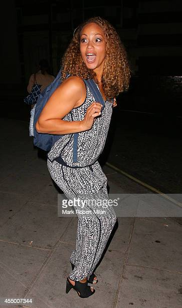 Angela Griffin leaving a performance of Breeders at the Palace theatre on September 8 2014 in London England