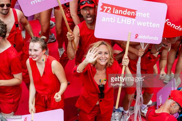 Angela Groothuizen Dutch singer artist and television personality during Amsterdam Gay Pride on August 4 2018 in Amsterdam Netherlands Pride...