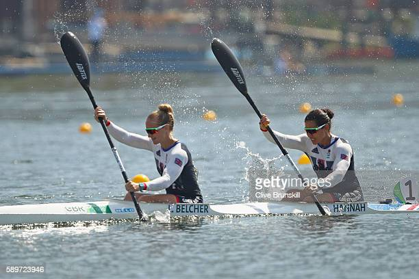 Angela Hannah and Lani Belcher of Great Britain compete in the Canoe Sprint Women's Kayak Double 500m Semifinal 2 on Day 10 of the Rio 2016 Olympic...