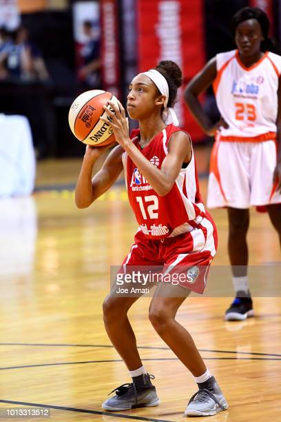 Angela Harris of the MidAtlantic Girls shoots a free throw against the South Girls during the Jr NBA World Championship on August 8 2018 at ESPN Wide...