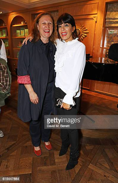 Angela Hartnett and Claudia Winkleman attend the launch of 'Fortnum Mason The Cook Book' by Tom Parker Bowles at Fortnum Mason on October 18 2016 in...
