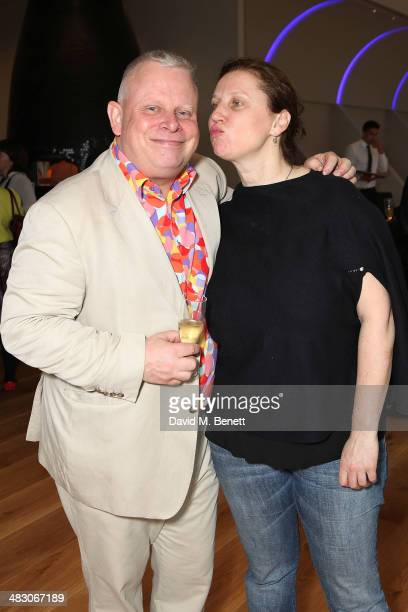 Angela Hartnett and Richard Vine attend Bloomberg's chief food critic Richard Vines' 60th birthday at L'Anima Cafe on April 6 2014 in London England