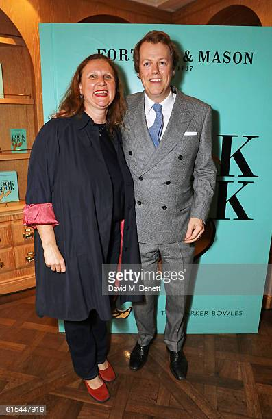 Angela Hartnett and Tom Parker Bowles attend the launch of 'Fortnum Mason The Cook Book' by Tom Parker Bowles at Fortnum Mason on October 18 2016 in...