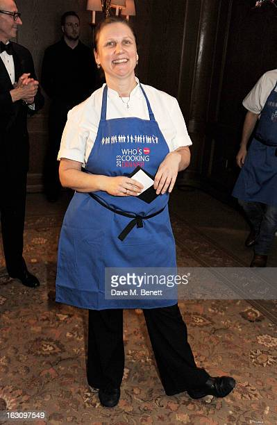 Angela Hartnett attends the 'Who's Cooking Dinner' charity event featuring 20 of the capital's finest chefs cooking dinner for 200 diners in aid of...