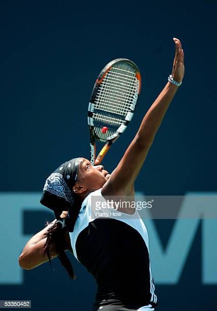 Angela Haynes of the U.S. Serves against Daniela Hantuchova of Slovakia during the J.P. Morgan Chase Open at the Home Depot Center August 10, 2005 in...