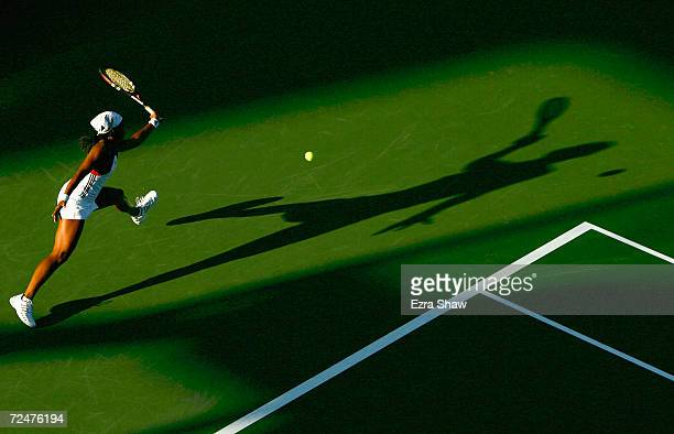 Angela Haynes returns to Magdalena Maleeva of Bulgaria during the US Open September 1, 2004 at the USTA National Tennis Center in Flushing Meadows...