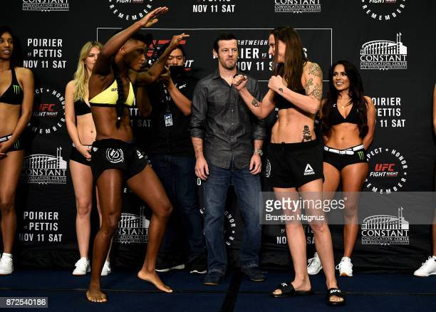 Angela Hill and Nina Ansaroff face off during the UFC Fight Night Weighin on November 10 2017 in Norfolk Virginia