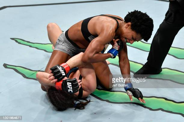 Angela Hill elbows Hannah Cifers in their women's strawweight bout during the UFC Fight Night event at PNC Arena on January 25 2020 in Raleigh North...