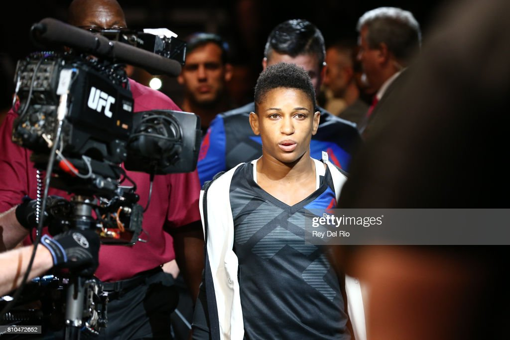 Angela Hill enters the Octagon before facing Asley Yoder during The Ultimate Fighter Finale event inside the T-Mobile Arena on July 7, 2017 in Las Vegas, Nevada.