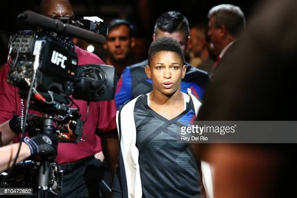 Angela Hill enters the Octagon before facing Asley Yoder during The Ultimate Fighter Finale event inside the TMobile Arena on July 7 2017 in Las...