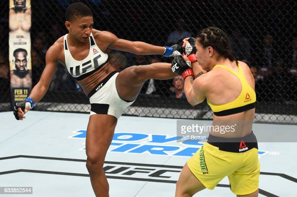 Angela Hill kicks Jessica Andrade of Brazil in their women's strawweight bout during the UFC Fight Night event at the Toyota Center on February 4...