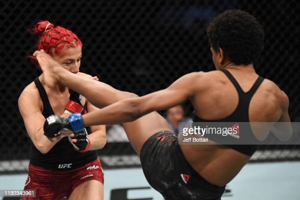 Angela Hill kicks Randa Markos of Canada in their women's strawweight bout during the UFC Fight Night event at Bridgestone Arena on March 23 2019 in...