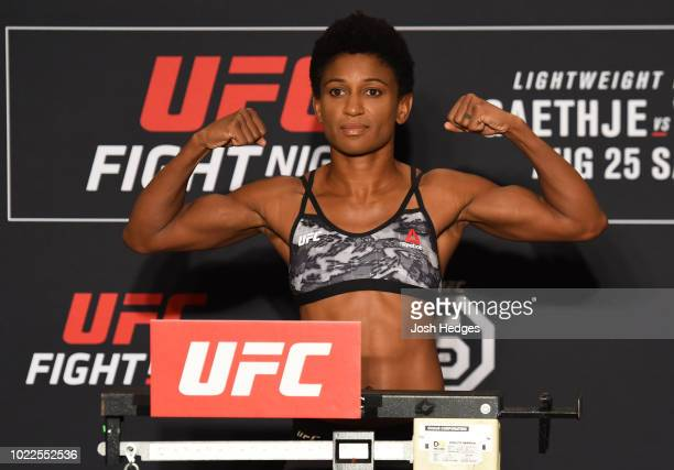 Angela Hill poses on the scale during the UFC weighin on August 24 2018 in Lincoln Nebraska