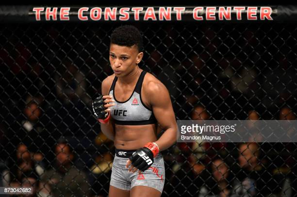 Angela Hill stands in her corner prior to facing Nina Ansaroff in their women's strawweight bout during the UFC Fight Night event inside the Ted...