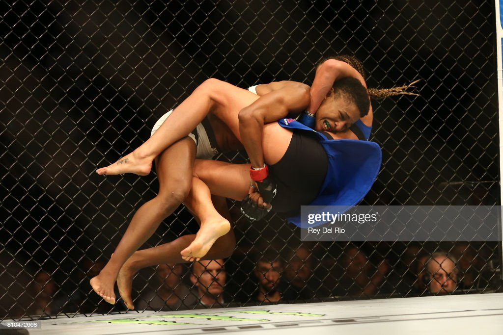 Angela Hill takes down Asley Yoder during The Ultimate Fighter Finale event inside the T-Mobile Arena on July 7, 2017 in Las Vegas, Nevada.