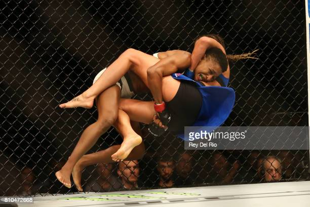 Angela Hill takes down Asley Yoder during The Ultimate Fighter Finale event inside the TMobile Arena on July 7 2017 in Las Vegas Nevada