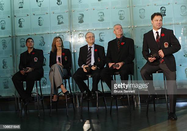 Angela James, Cammi Granato, Jimmy Devellano, Bob Seaman , and Dino Ciccarelli, appear at a media opportunity prior to their induction ceremony to...