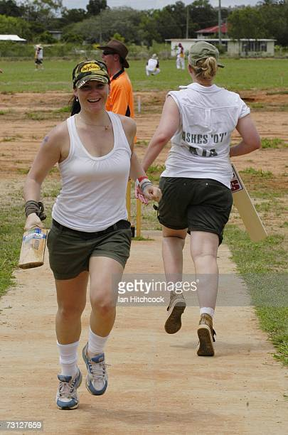 Angela James of the team 'We Have No Balls' completes a run during the Goldfield Ashes January 26 2007 in Charters Towers Australia Every Australia...