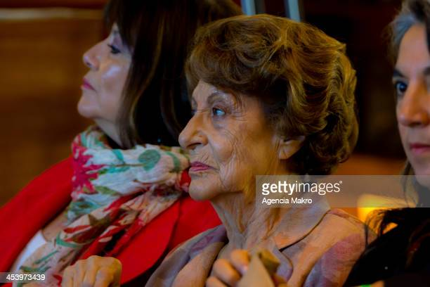 Angela Jeria mother of Michelle Bachelet during the presidential runoff of the Association of Broadcasters of Chile at Centro Cultural Gabriela...