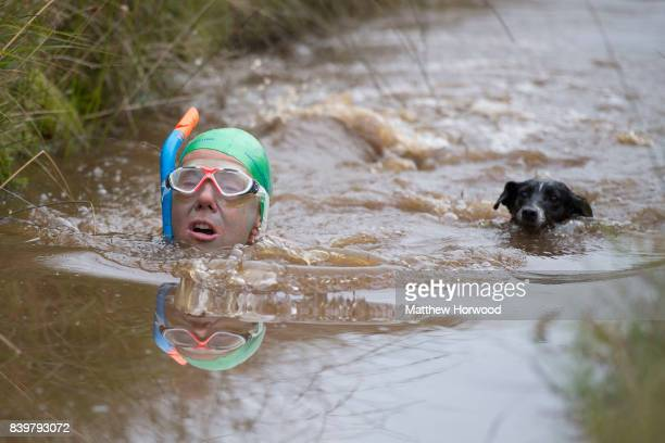 Angela Jones swims with her dog Jack during the World Bog Snorkelling Championships 2017 on August 27 2017 in Llanwrtyd Wells Wales The competition...