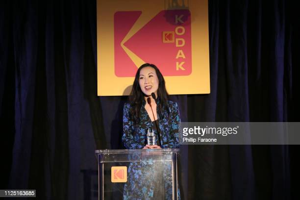 Angela Kang accepts the TV Series of the Year Showrunner Award onstage during the 3rd annual Kodak Awards at Hudson Loft on February 15 2019 in Los...