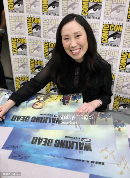 Angela Kang attends 'The Walking Dead' autograph signing with AMC during during ComicCon International 2018 at San Diego Convention Center on July 20...