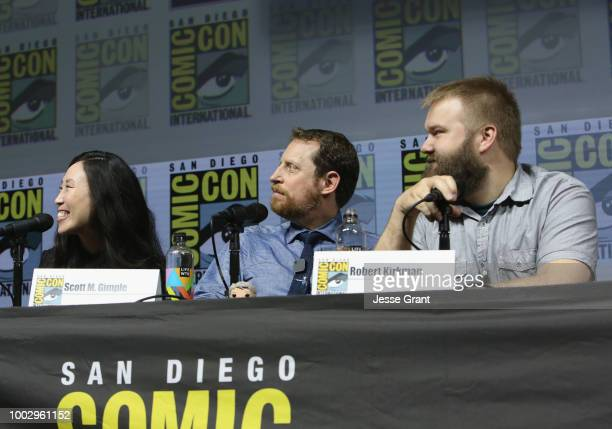 Angela Kang Scott M Gimple and Robert Kirkman speak onstage at AMC's 'The Walking Dead' panel during ComicCon International 2018 at San Diego...