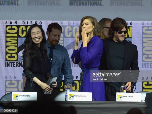 Angela Kang Scott M Gimple Lauren Cohan Greg Nicotero and Norman Reedus walk onstage at AMC's 'The Walking Dead' panel during ComicCon International...